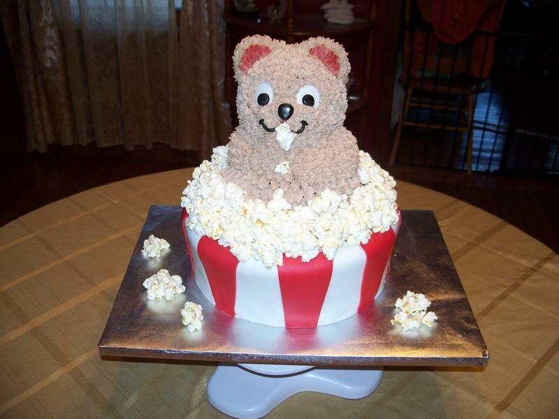 Teddy Bear in Popcorn Box Cake