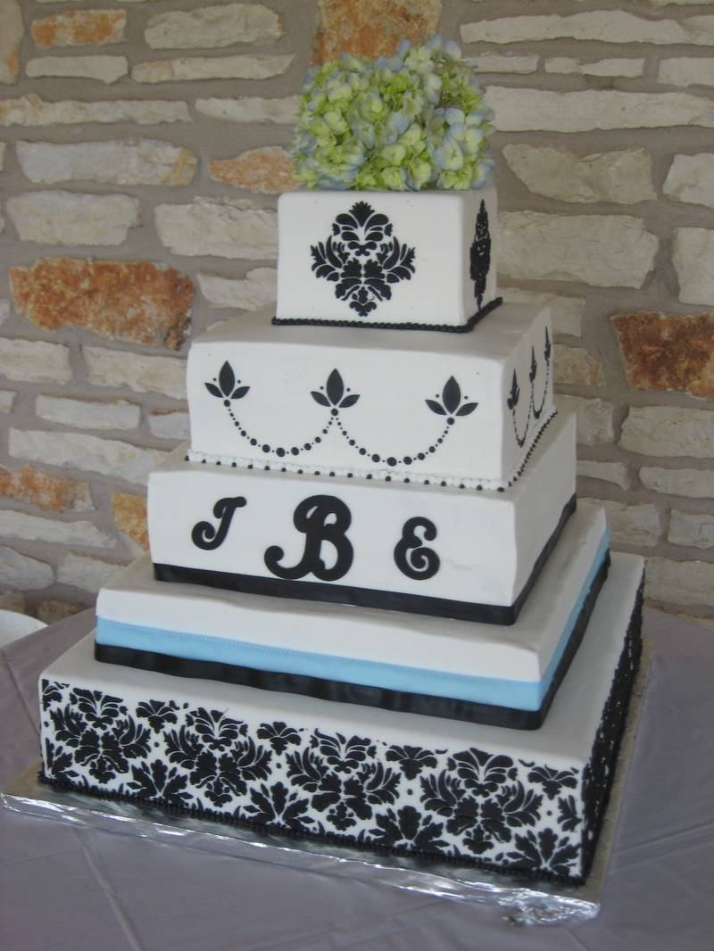 Monogram Damask Wedding Cake