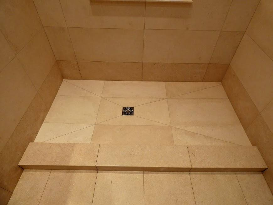 Limestone shower tray