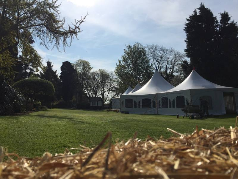 Hexagon marquee at the red brick barn sutton hall