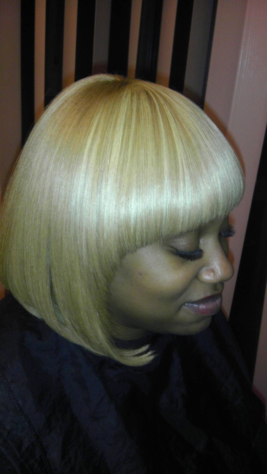 Custom made wig, bob cut with straight bangs