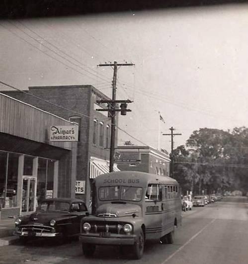 Beaufort High School bus on Carteret Street - 1950s