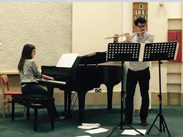 Felix Niel with his brilliant Spanish pianist Carla Fernandez Boix at rehearsal for the UK premier