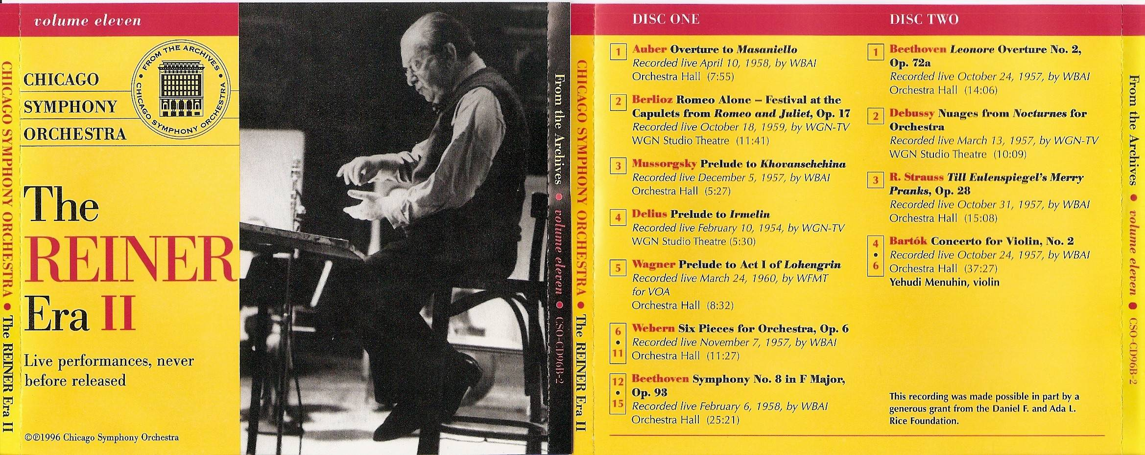 Chicago Symphony Orchestra - From The Archives, Vol.11: The Reiner Era II, 2-CD set (1996)