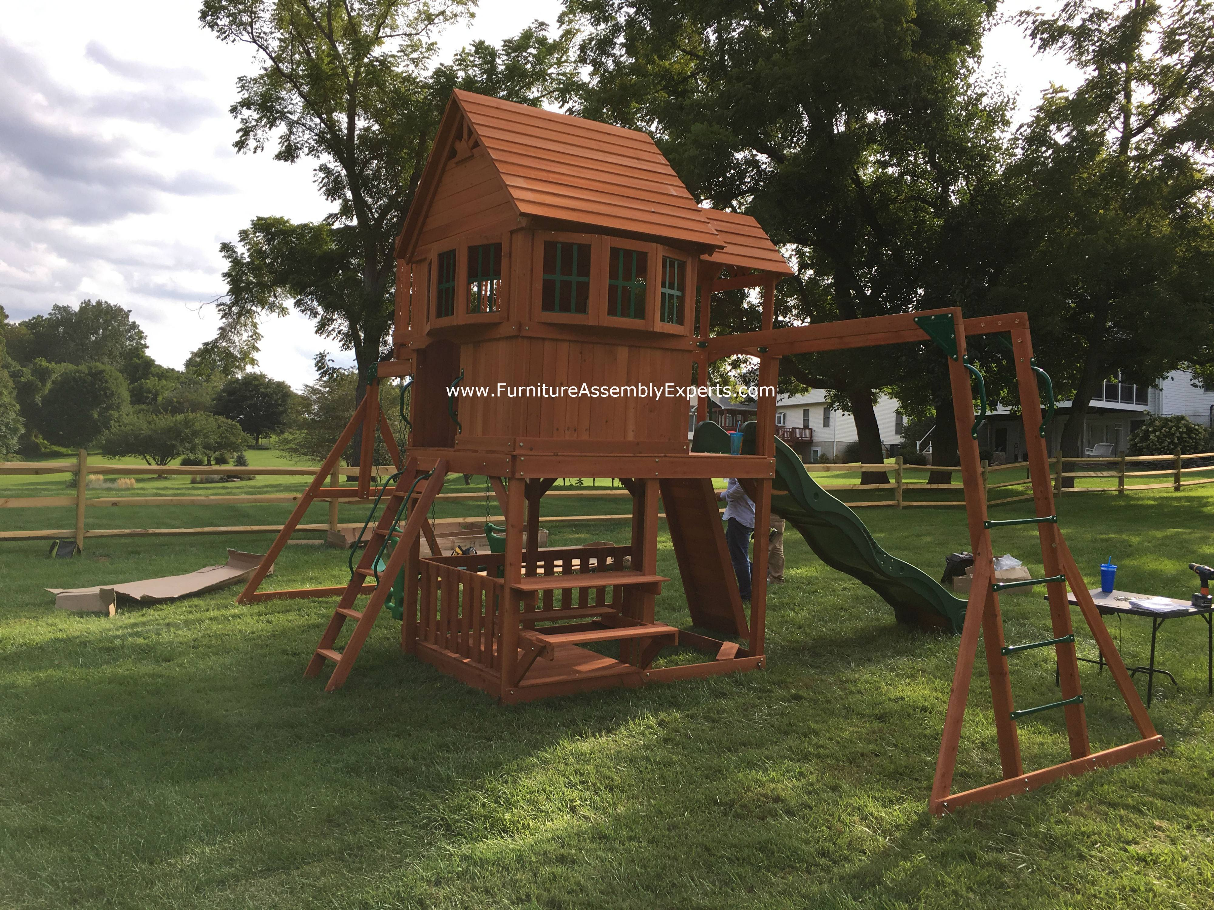 skyfort II swing set installation in edgewater MD