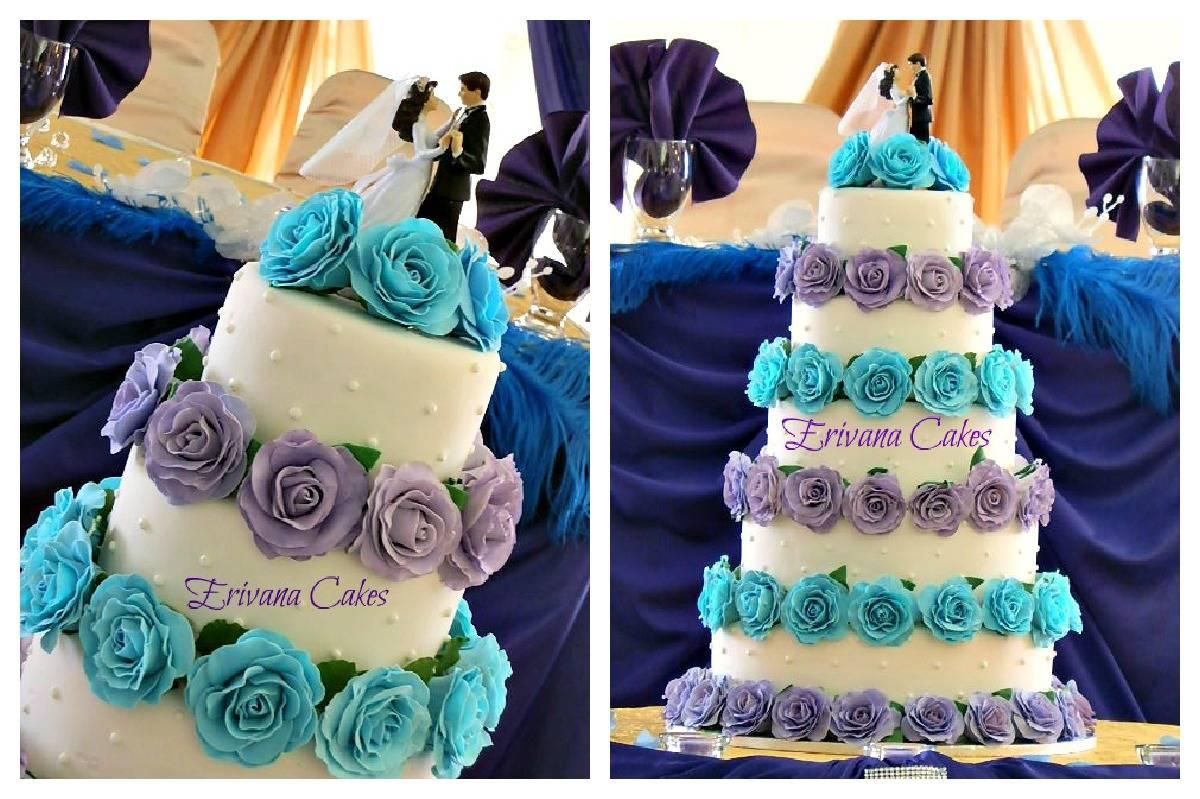 Turquiose and Purple Wedding Cake