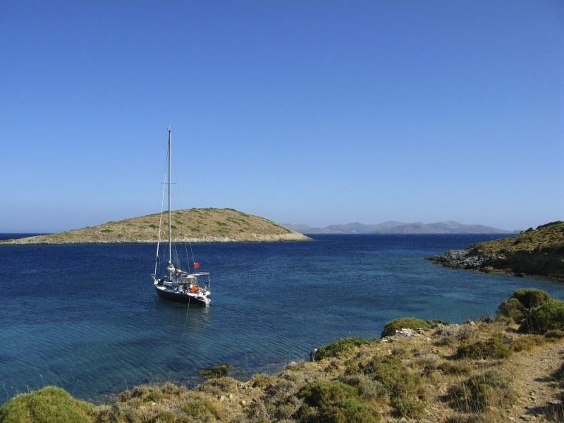 at anchor in Kazadia Bay, Lipsos