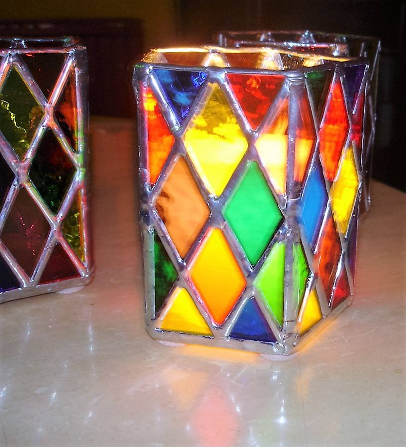 Lit Diamond Candle Holder