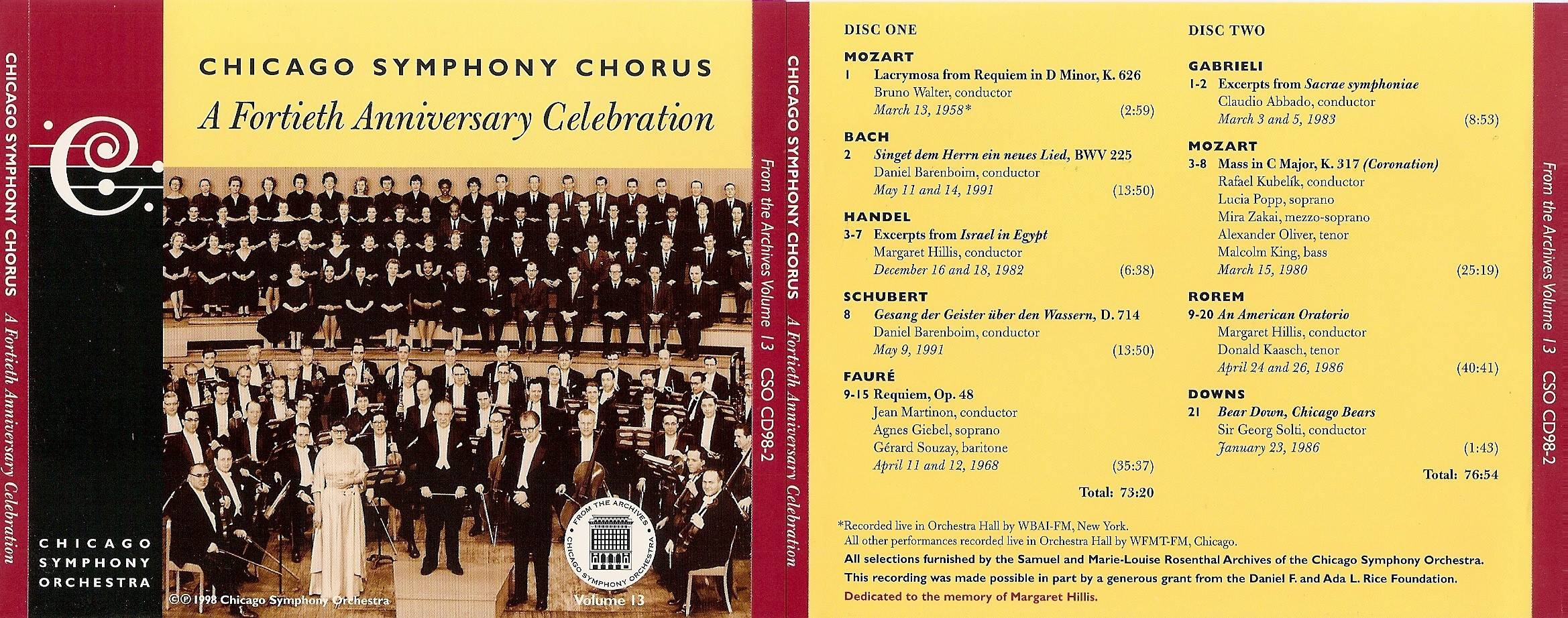 Chicago Symphony Orchestra - From The Archives, Vol.13: The CSO Chorus: A 40th Anniversary Celebration, 2-CD set (1998)
