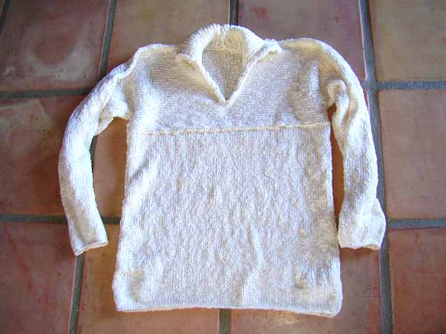 3.  shirt collar - chest knit sideways