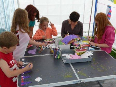 Hard at work in the drop-in craft session on Saturdaydayday