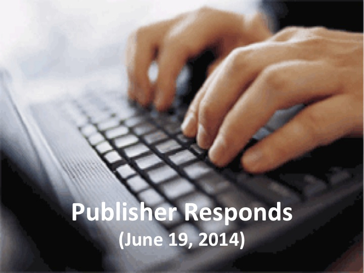 Publisher Responds (June 19, 2014)