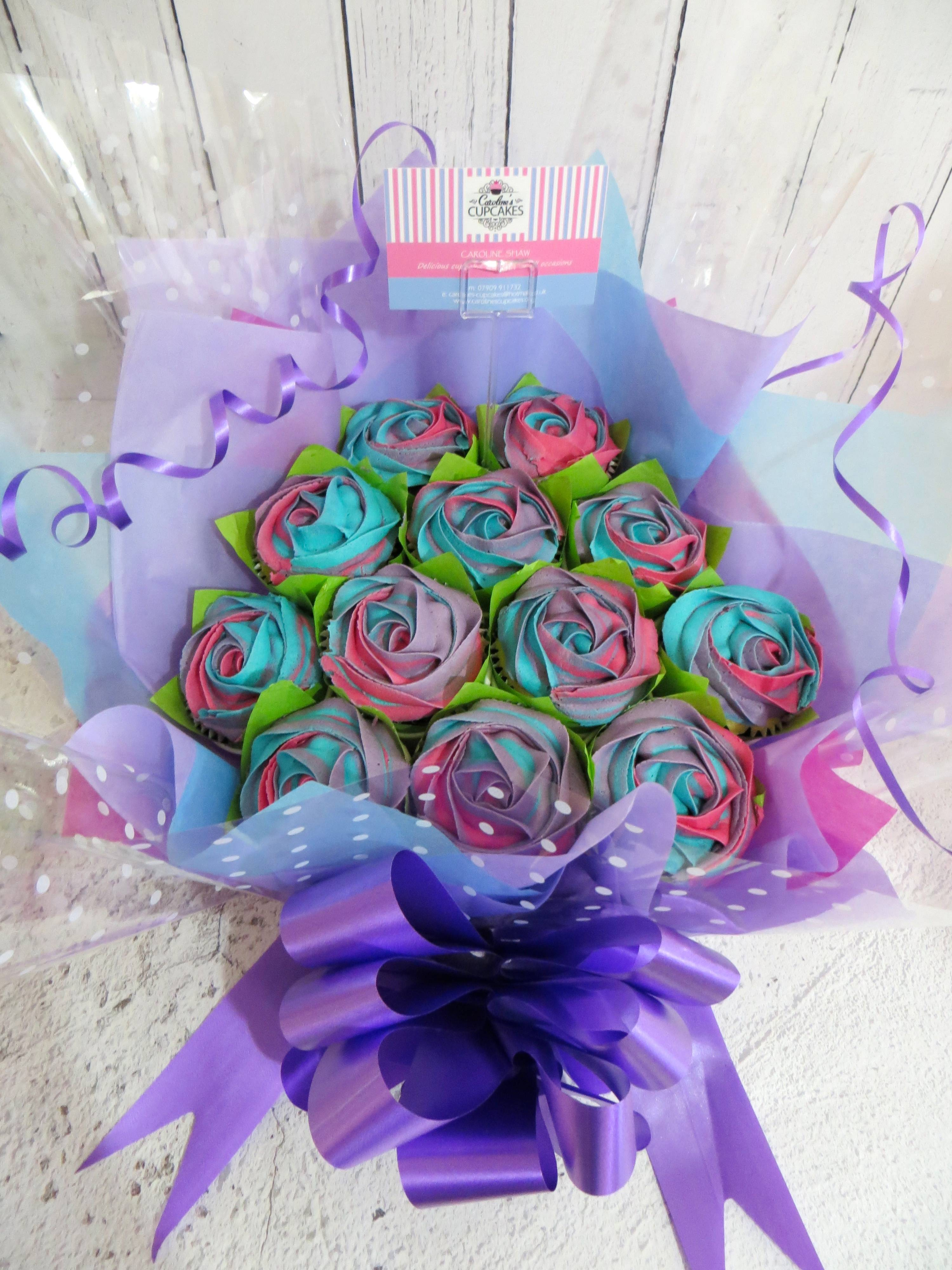 Pink, purple and blue three tone cupcake bouquet