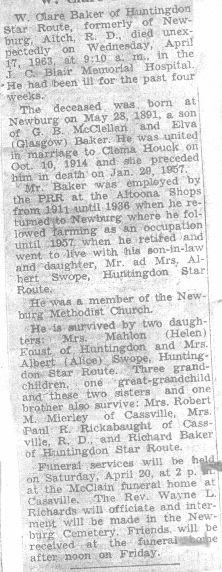 Baker, W. Clare 1963