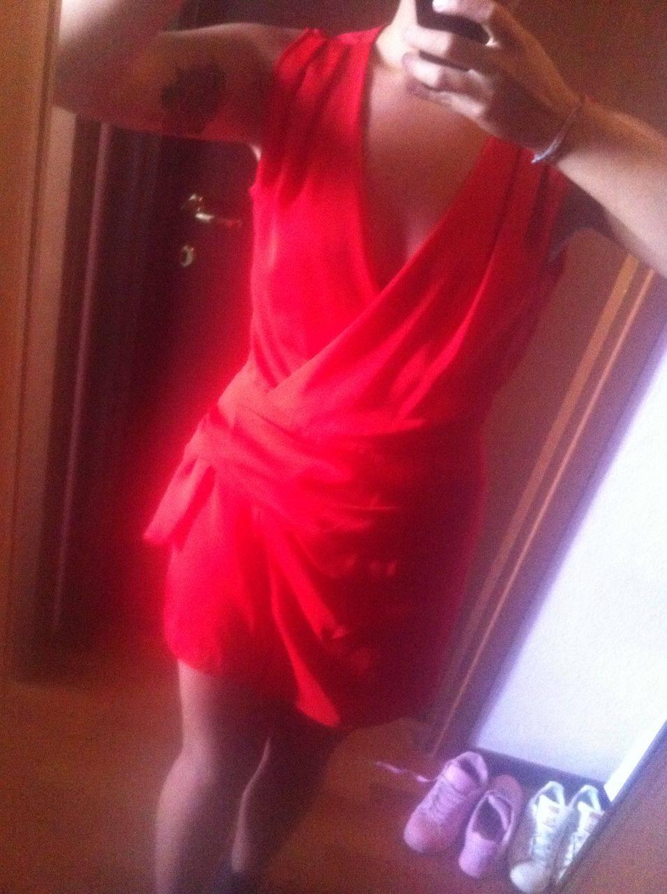 abito rosso in jersey