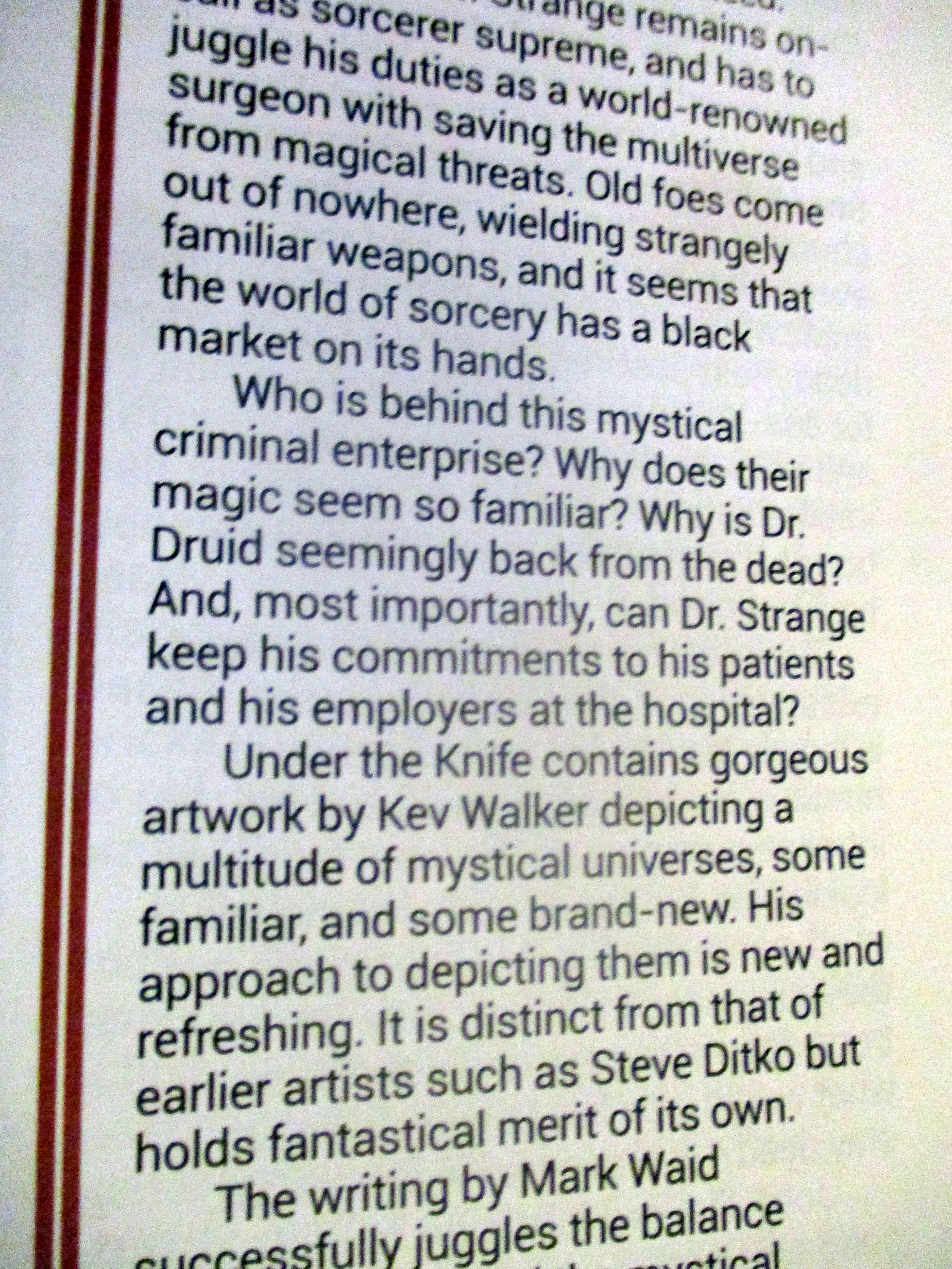Text in Review of Doctor Strange: Surgeon Supreme in Starburst Magazine #475: The Mandalorian Collectors¿ Edition at The Wombatorium 2.0: A Capital Idea
