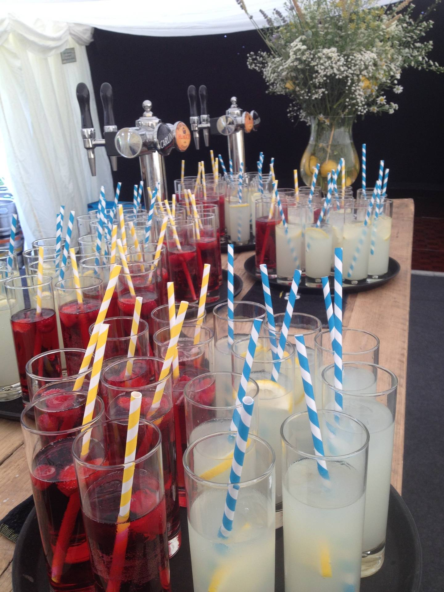 Elderflower and blackberry Pimms and Gin and cloudy lemonade