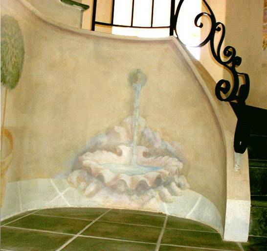 mural in staircase private commission, France