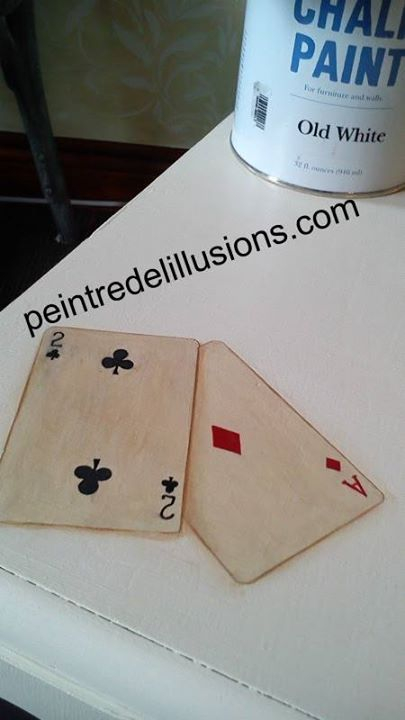 Carte à jouer peint en trompe l'Oeil