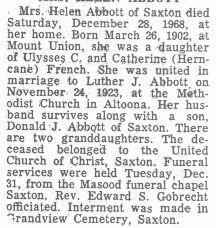 Abbott, Helen French 1968