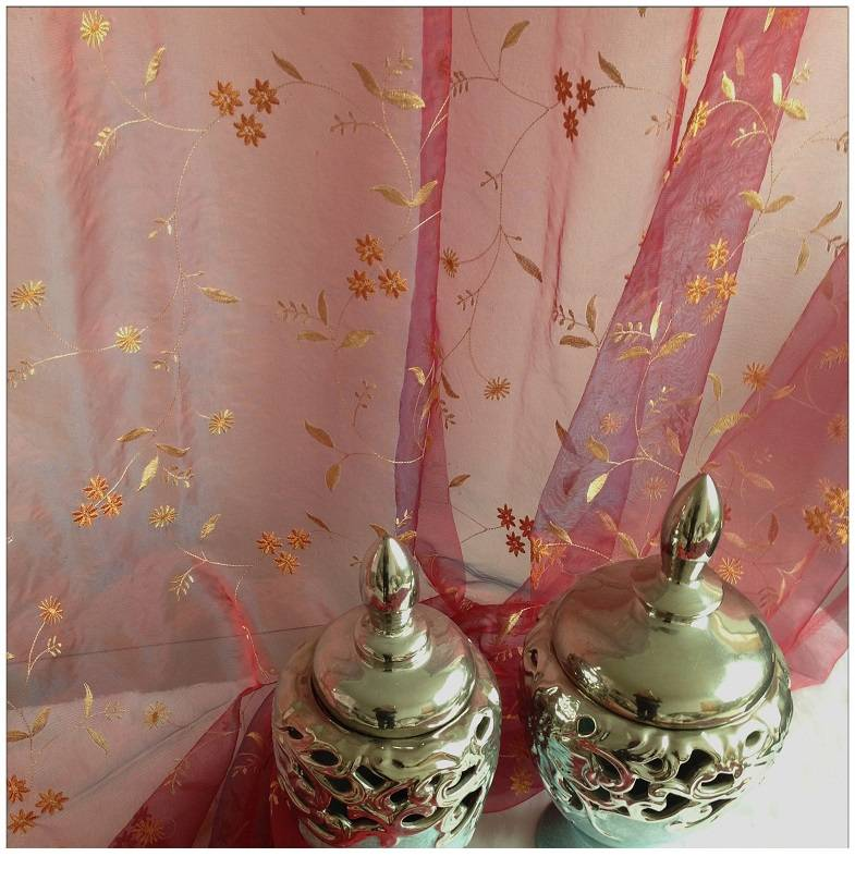 Floral Gold Embroidered Organza Sheer Curtains & Panels