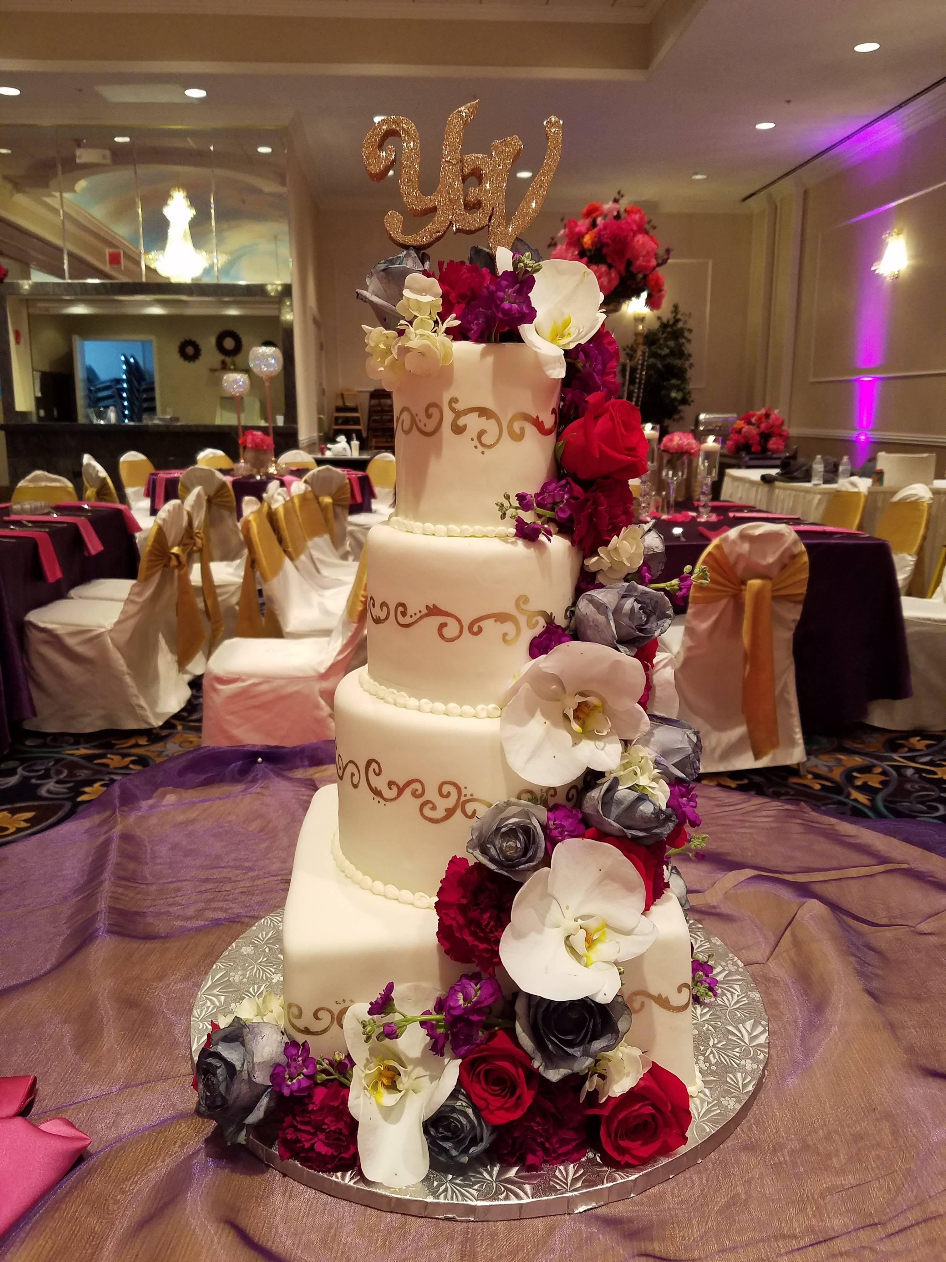 Cake w/ Cascading Flowers