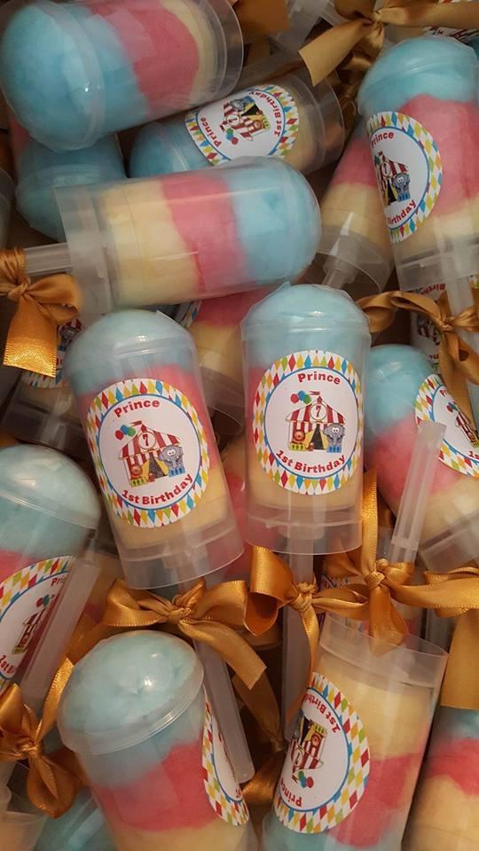 Circus cotton candy push pop favors