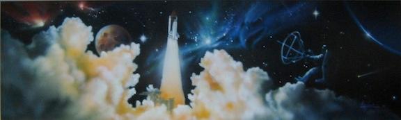 Shuttle Launch Scene collage