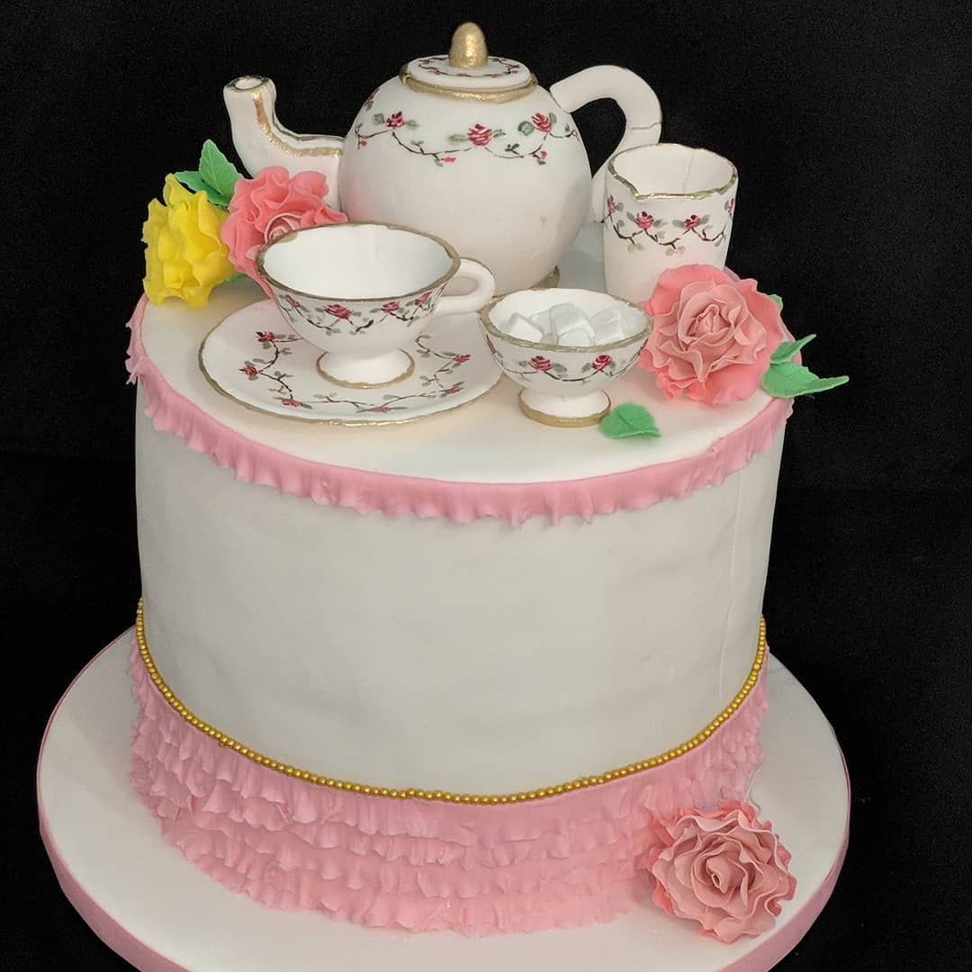 Tea Service cake with edible toppers