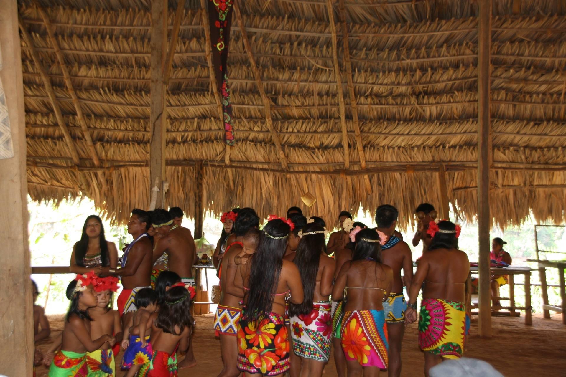 Dancing at Embera Indigenous Village