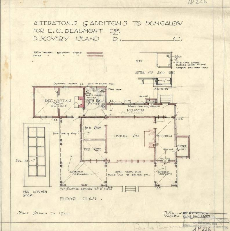 """Samuel Maclure -- January 1922 Blueprints of """"Alterations & additions to bungalow for E.G. Beaumont Esq., Discovery Island, B.C."""""""