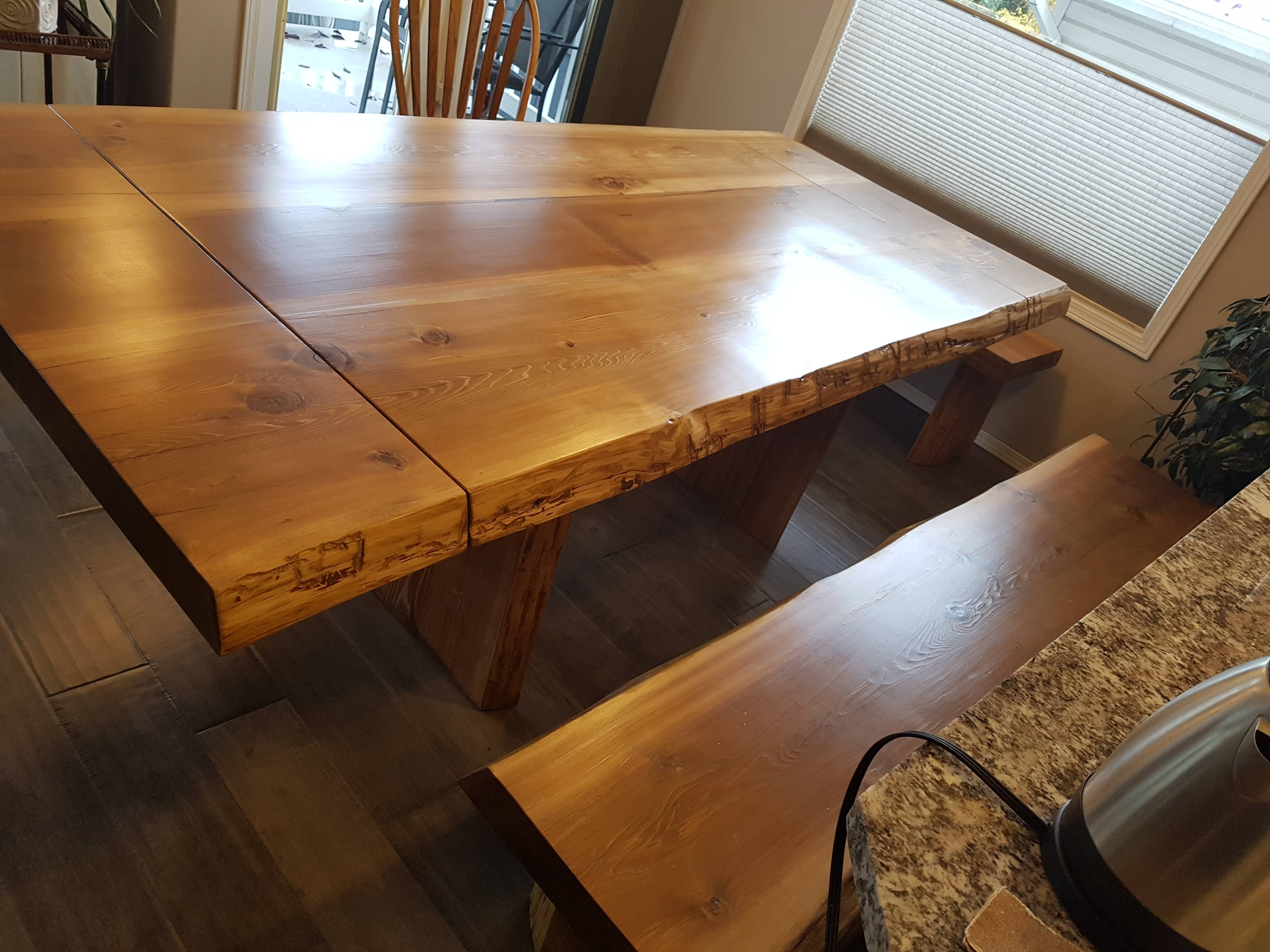 Cedar table with leaf and the bench