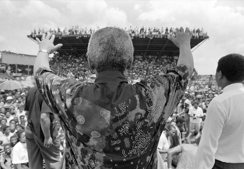 Mandela at a rally