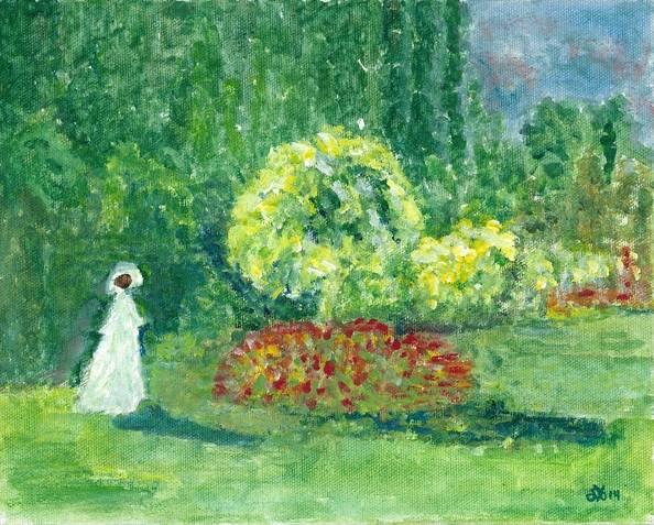 Interpretation of Woman in a Garden by Monet