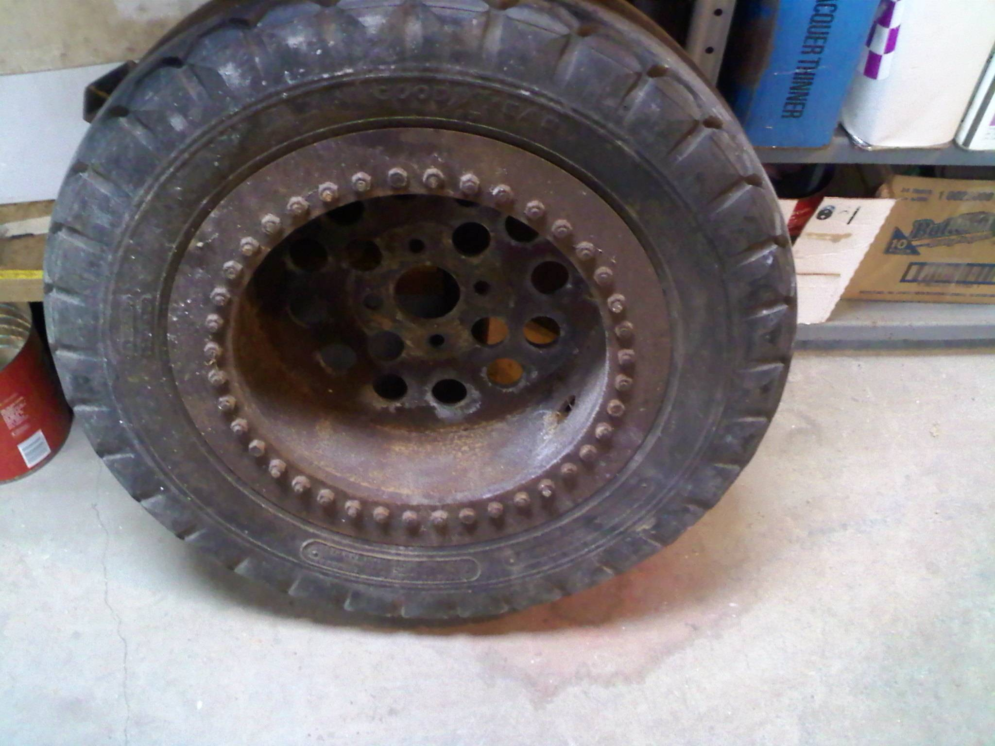 Special built rims with aircraft tires