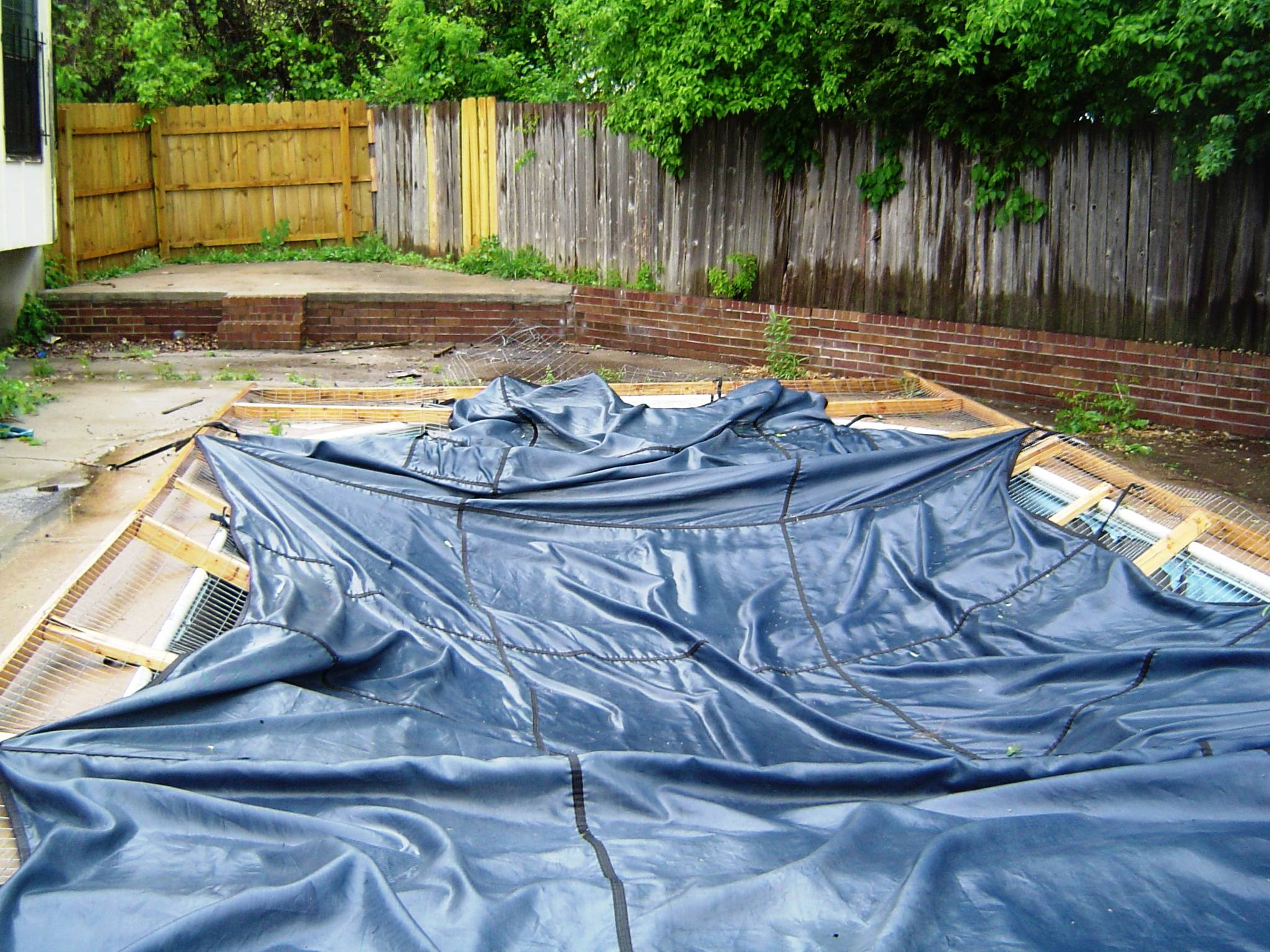 covered with old pool liner