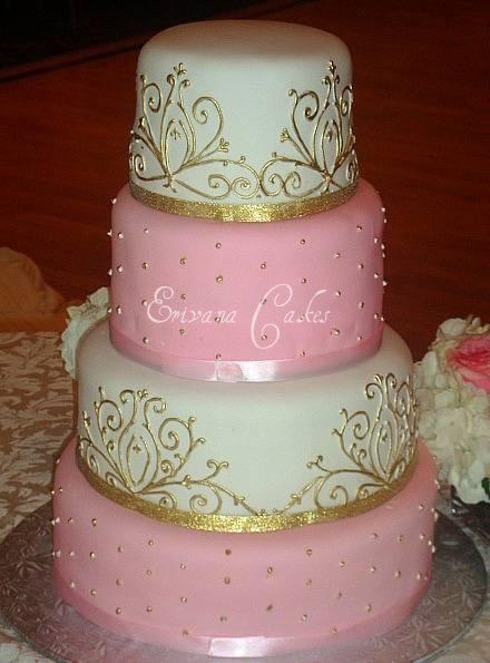 Pink and White Damask Wedding Cake (W015)