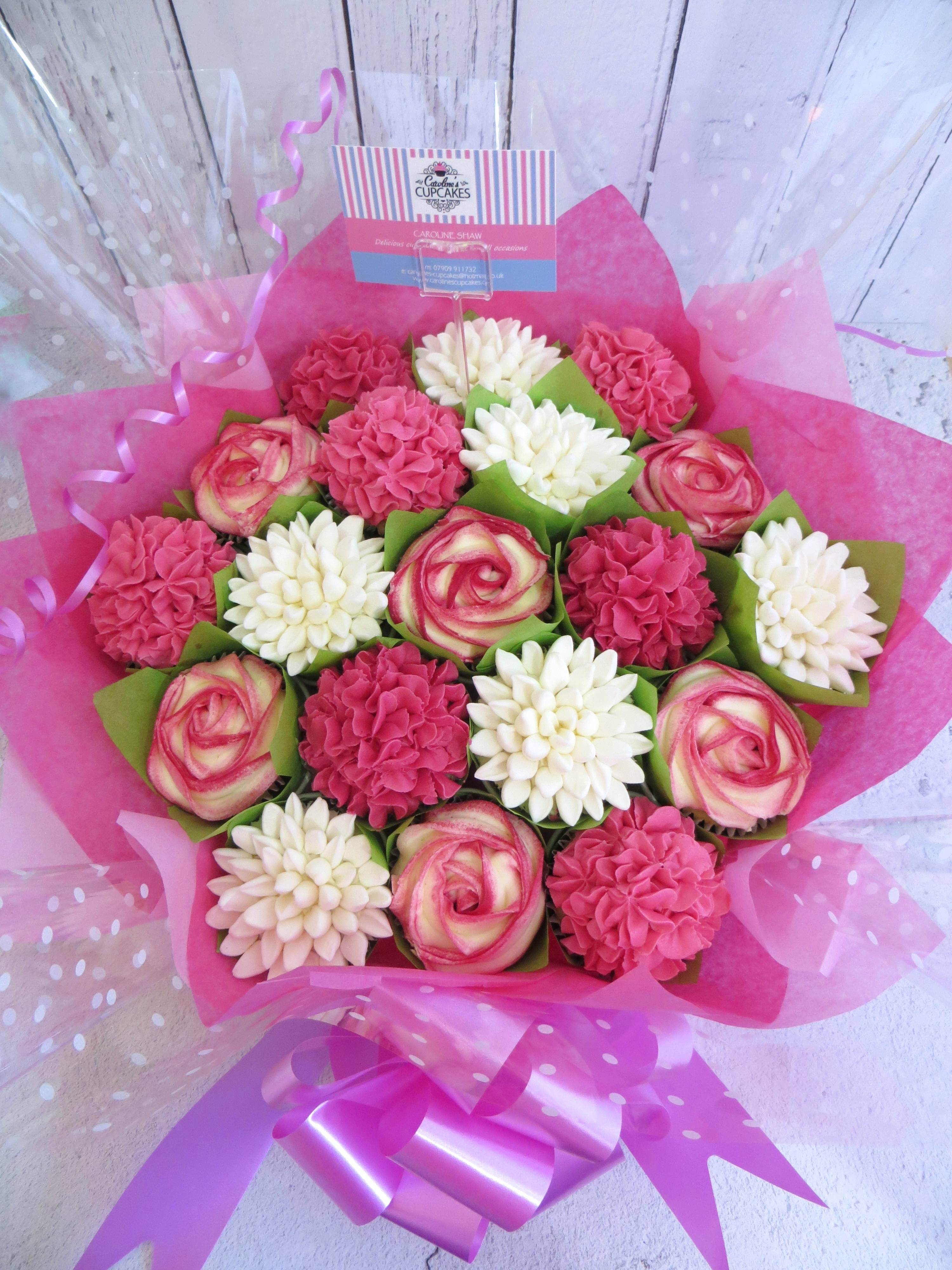 19 cupcake bouquet in pink and white