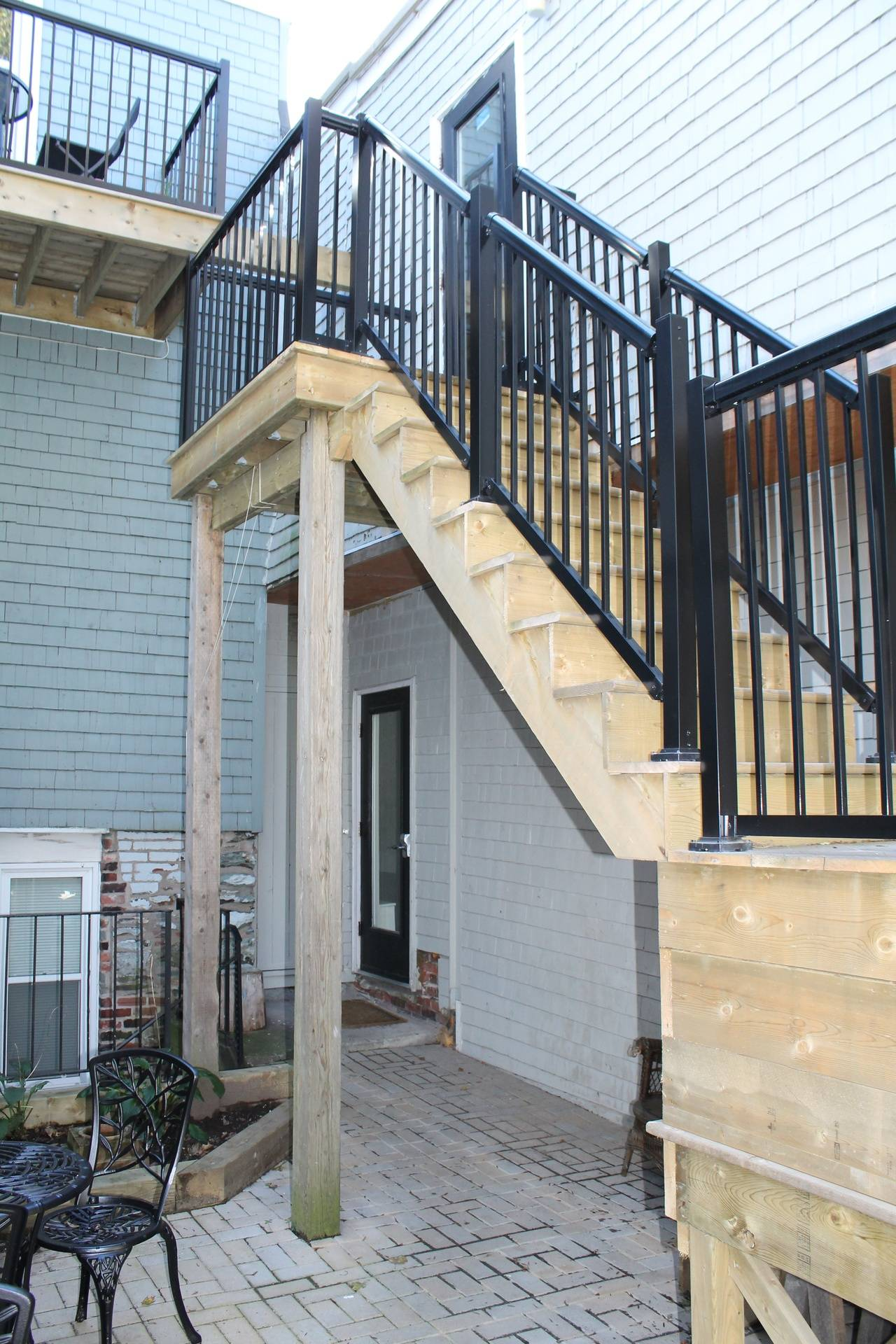 Fire escape from the upstairs rooms to patio
