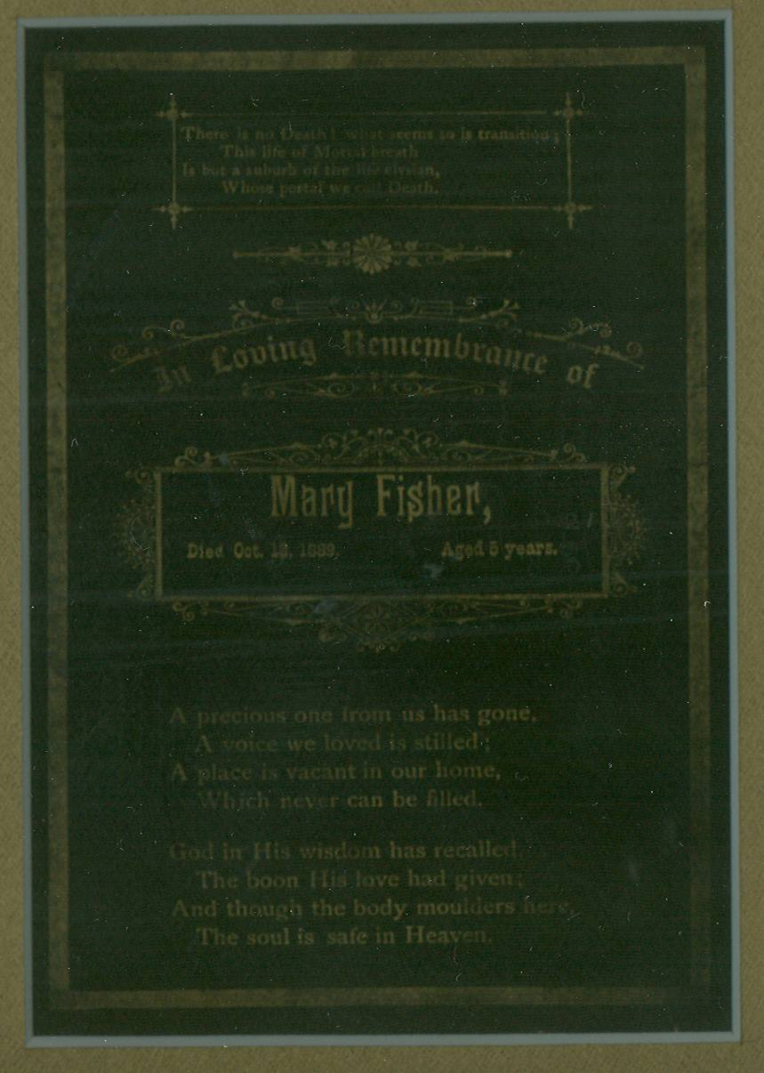 Mary Fisher Funeral Card