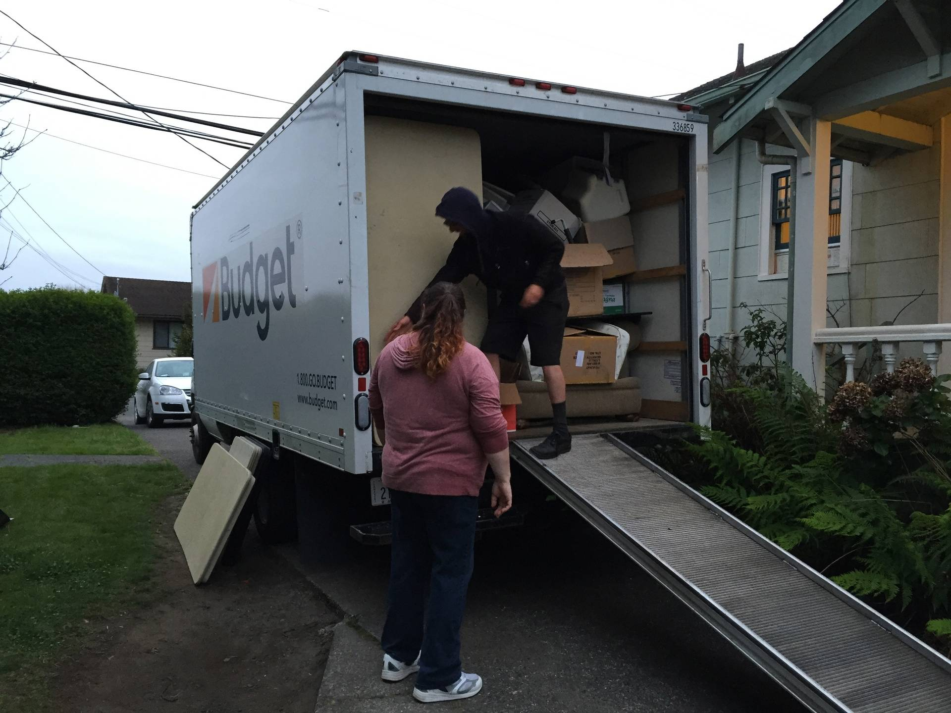 Our moving truck filled with rummage sale items