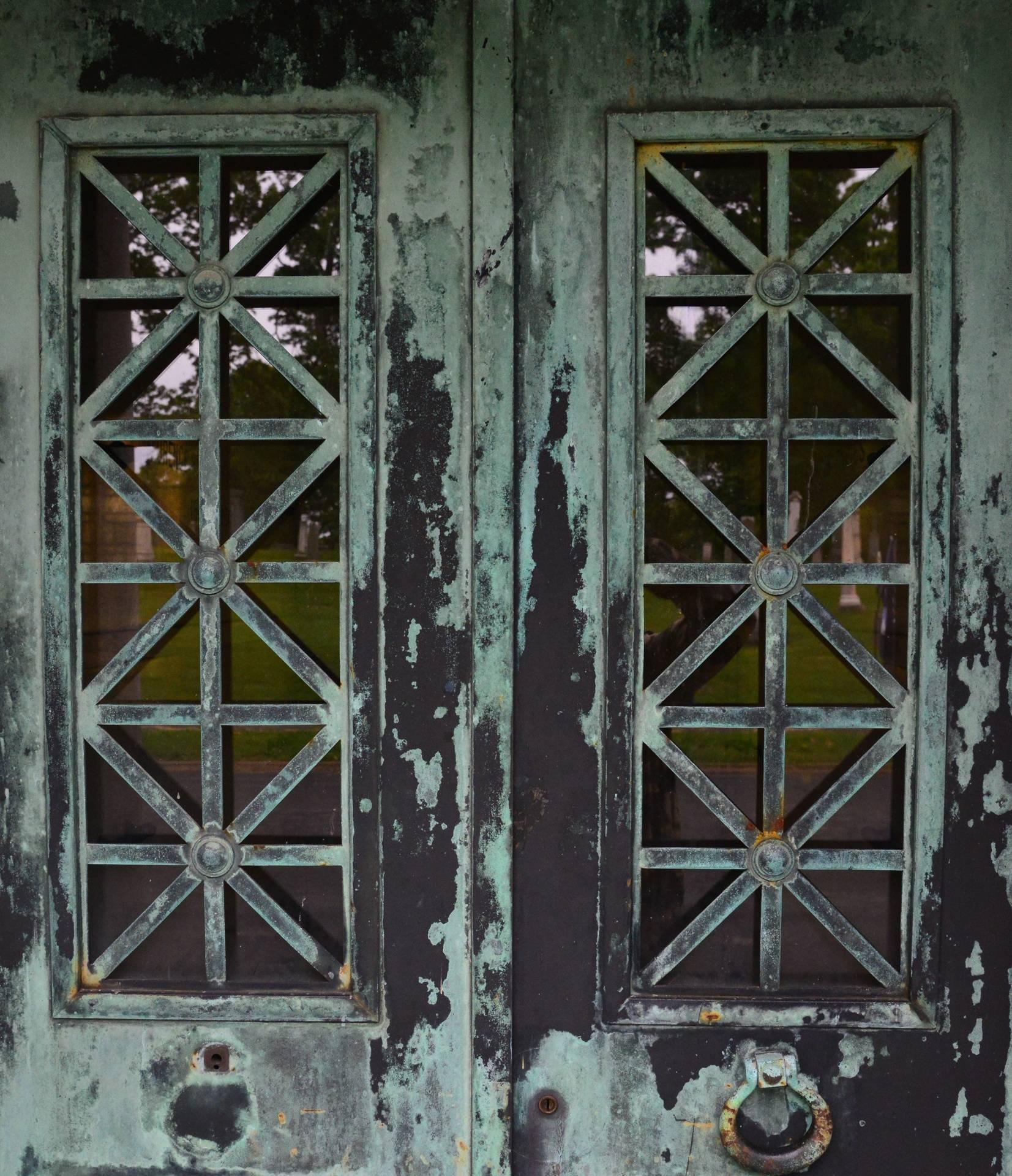 Close up of copper front doors