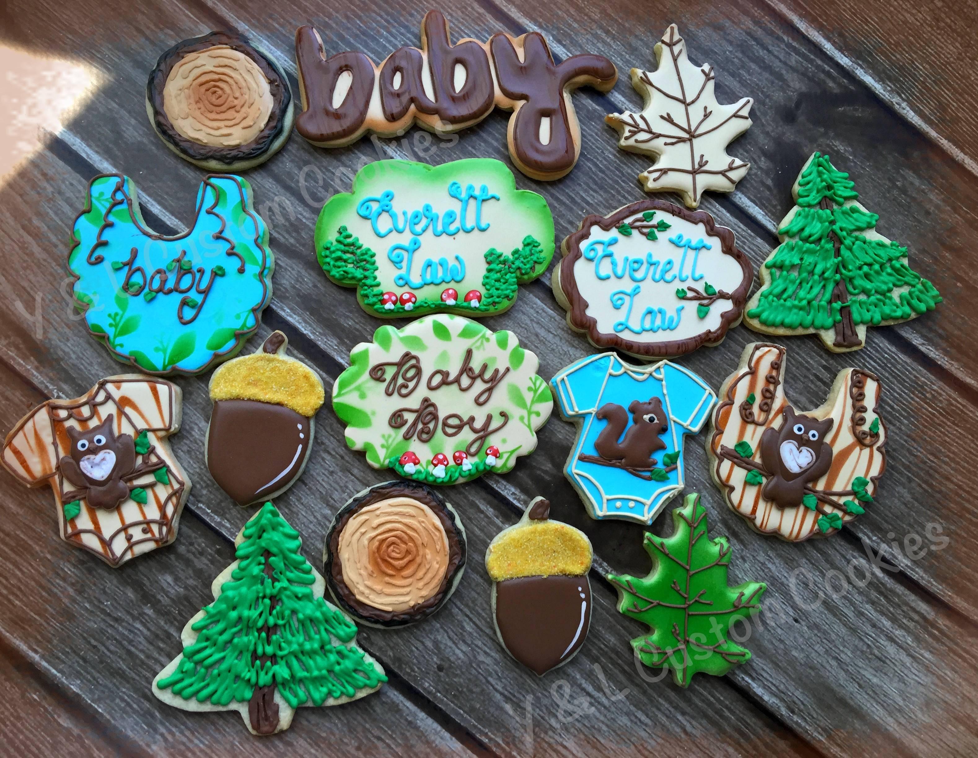 Baby Shower Custom Cookies Woodland Theme