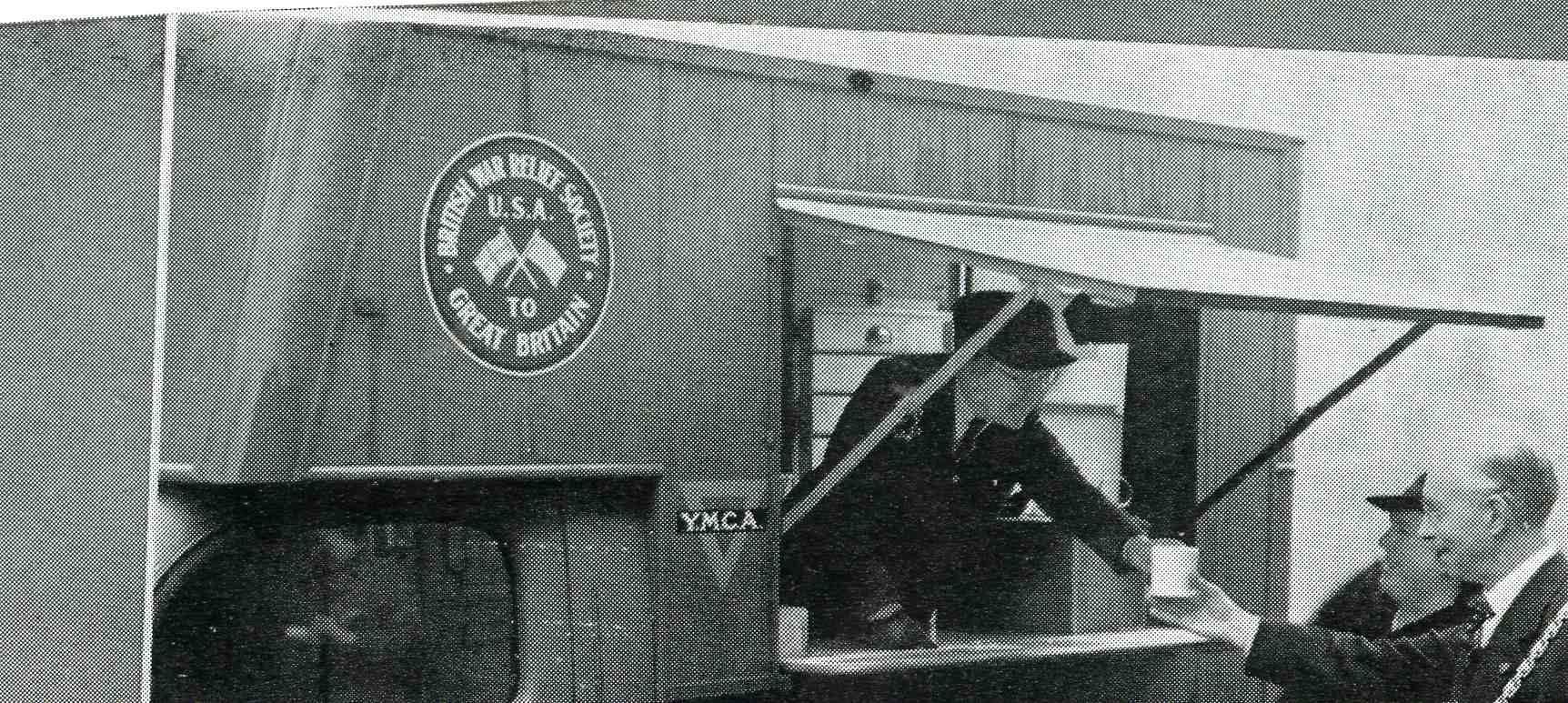 serving food and tea from a YMCA Tea Van