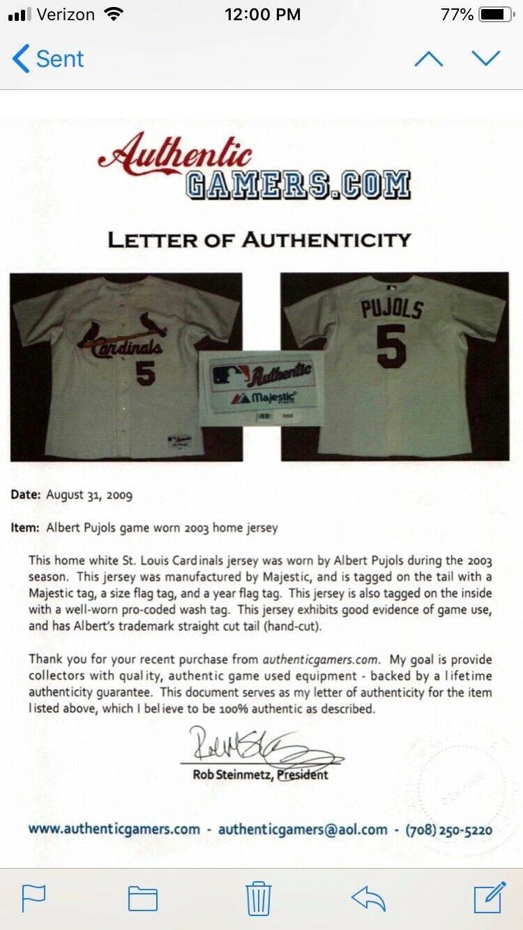 Albert Pujols 2003 St Louis Cardinals Game Worn Used Worn Majestic Home White Jersey