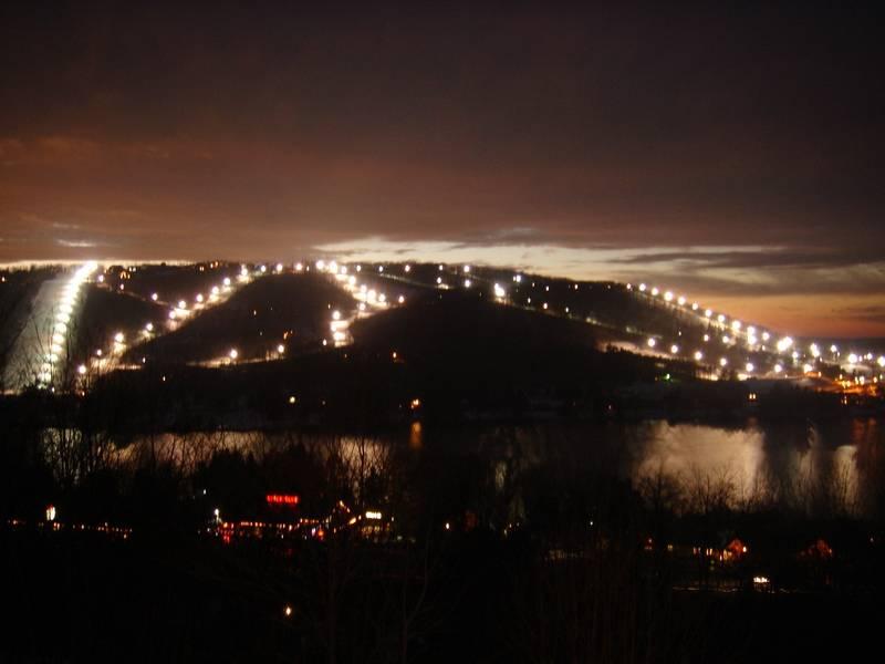 Ski slopes lit up
