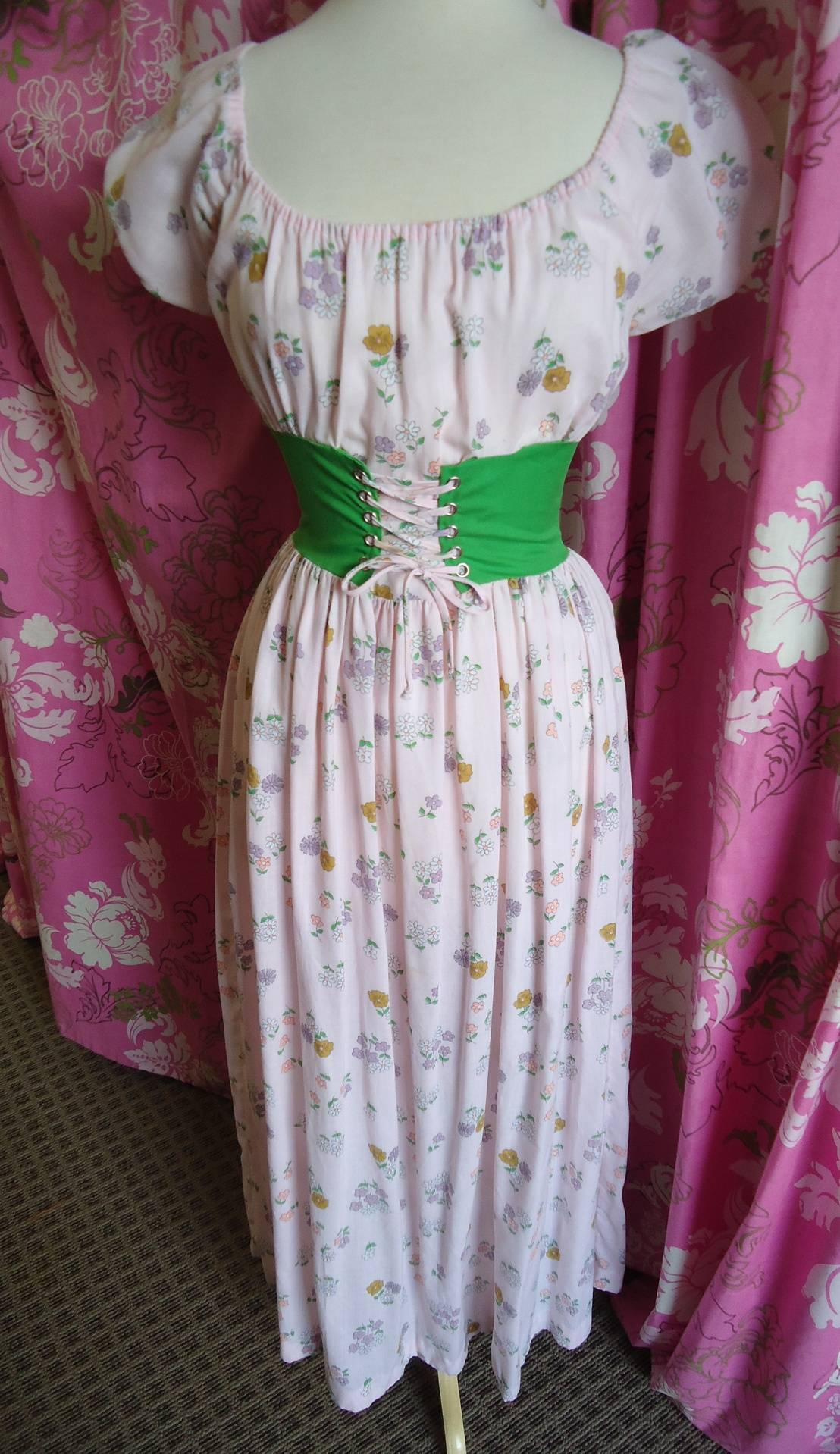 Cotton Pink Floral w/green waist  cincher