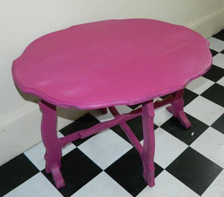 Pink slightly distressed folding table