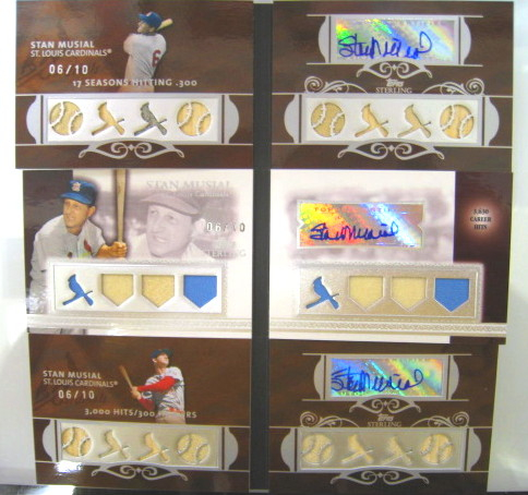 Stan Musial 2007 and 2008 Topps Sterling Signed Game Used Cards