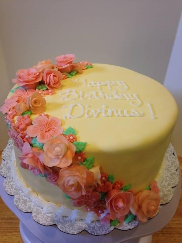Yellow and Peach Cake